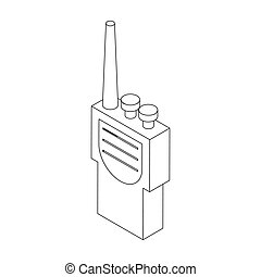 Portable handheld radio icon in isometric 3d style on a...