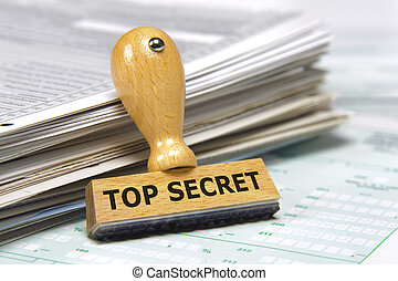 top secret documents with rubber stamp
