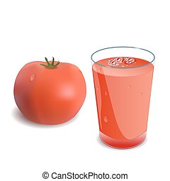 A glass of tomato juice or a cocktail and tomato Vector...