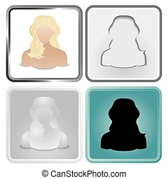 blonde - Vector set of four User Icon of blonde women.