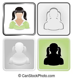 teen - Vector set of four User Icon of teen