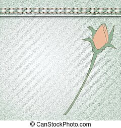 denim rose sewn - vector denim background with flower...