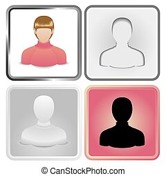 redhead - Vector set of four User Icon of women in a...