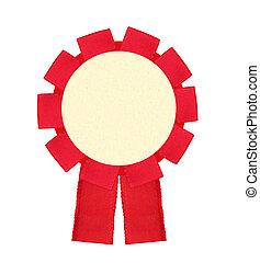 blanco, rojo, premio, ganando, cinta, escarapela, aislado,...