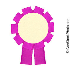 Blank pink award winning ribbon rosette isolated on White...