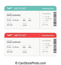 Set of the airline boarding pass tickets. Isolated on white background. Vector flat design.
