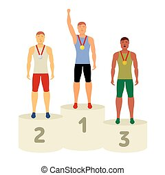 Vector Olympic attributes - Men on a pedestal. Group of...