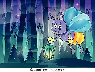luciole, à, lanterne, thème, image, 3,