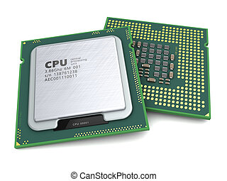 CPU - 3d illustration of generic modern cpu over white...