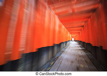 Red Tori Gate at Fushimi Inari Shrine in Kyoto, Japan,...