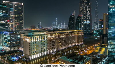 Scenic Dubai downtown architecture at night timelapse....