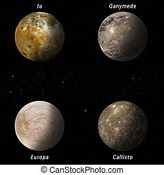 Jupiter Moons - imaginary illustration of four best known...