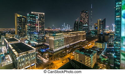 Scenic Dubai downtown architecture at night timelapse Aerial...