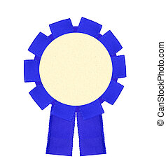 Blank blue award winning ribbon rosette isolated on White...