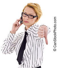 thumb down - business woman with thumb down gesture and...