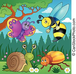 Spring animals and insect theme image 4 - eps10 vector...