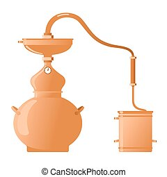 Moonshine and whiskey. Copper alambik - The distillation...