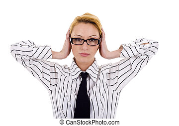 hear no evil - young businesswoman covers her ears with her...