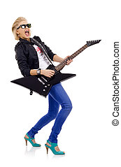 screaming girl playing guitar - screaming girl with electric...