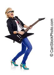 screaming girl playing guitar