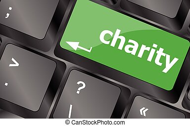 keyboard key for charity - business concept. Keyboard keys...
