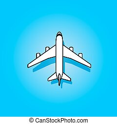 White vector plane flying over blue sky