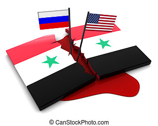 Syrian conflict - 3d illustration of syrian conflict concept
