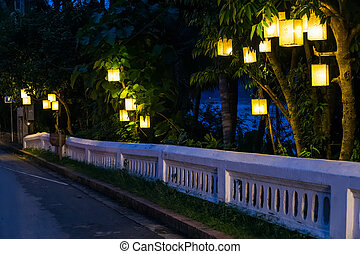 Oriental lanterns on the streets of Luang Prabang,  Laos