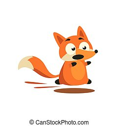 Fox Running Away Adorable Cartoon Style Flat Vector...