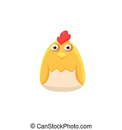 Chick In Eggshell Simplified Cute Illustration In Childish...