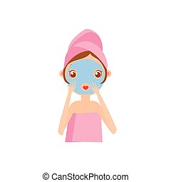 Girl Doing Clay Mask Portrait Flat Cartoon Simple...