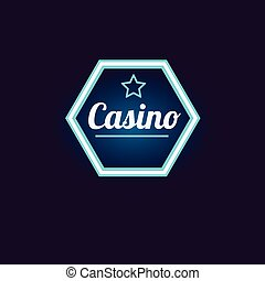 Blue Hexahedron Casino Neon Sign