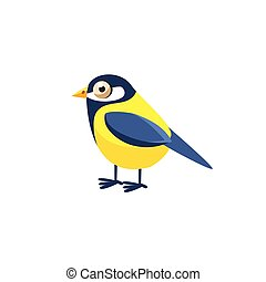 Tomtit Simplified Cute Illustration In Childish Flat Vector...