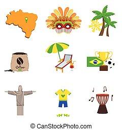 Traditional Brasilian Symbols Flat Isolated Icons Set Of...