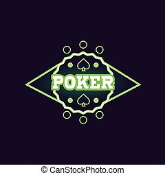 Round Green Poker Neon Sign Las Vegas Style Illumination...