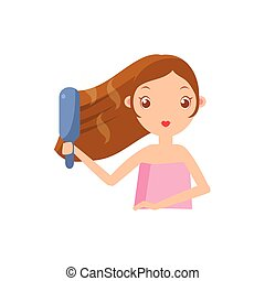 Girl Straightening The Hair Portrait Flat Cartoon Simple...
