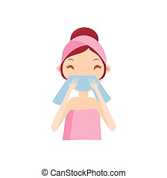 Girl Wiping Her Face Portrait Flat Cartoon Simple...