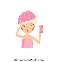Girl Washing Her Hair Portrait Flat Cartoon Simple...