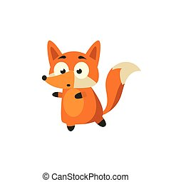 Fox Carefully Walking Away Adorable Cartoon Style Flat...