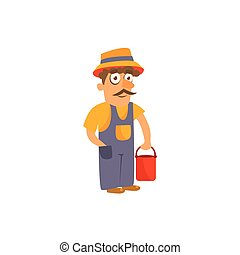 Farmer Simplified Cute Illustration In Childish Flat Vector...