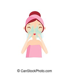 Girl Rinsing Her Face Portrait Flat Cartoon Simple...