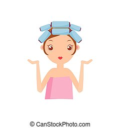 Girl With Curlers Portrait Flat Cartoon Simple Illustration...