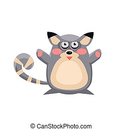 Lemur Funny Illustration - Lemur Funny Childish Cartoon...