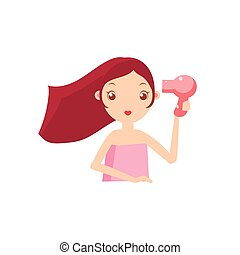 GIrl Drying Her Hair Portrait Flat Cartoon Simple...