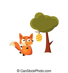 Fox And Beehive Adorable Cartoon Style Flat Vector...