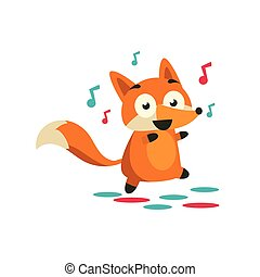 Fox On The Dancefloor Adorable Cartoon Style Flat Vector...
