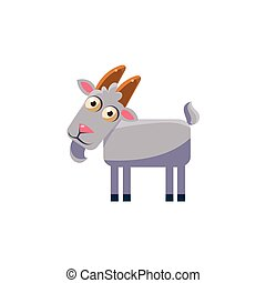 goat Simplified Cute Illustration In Childish Flat Vector...