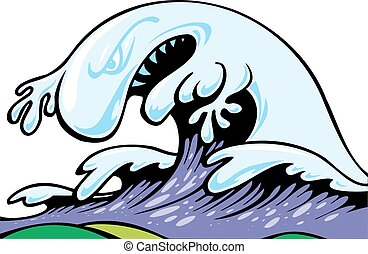 bad tsunami wave isolated on the white background