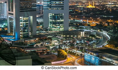 Dubai skyline from top with Emirates Towers timelapse at...