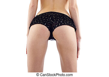 beauty girl back in pants string isolated over white...